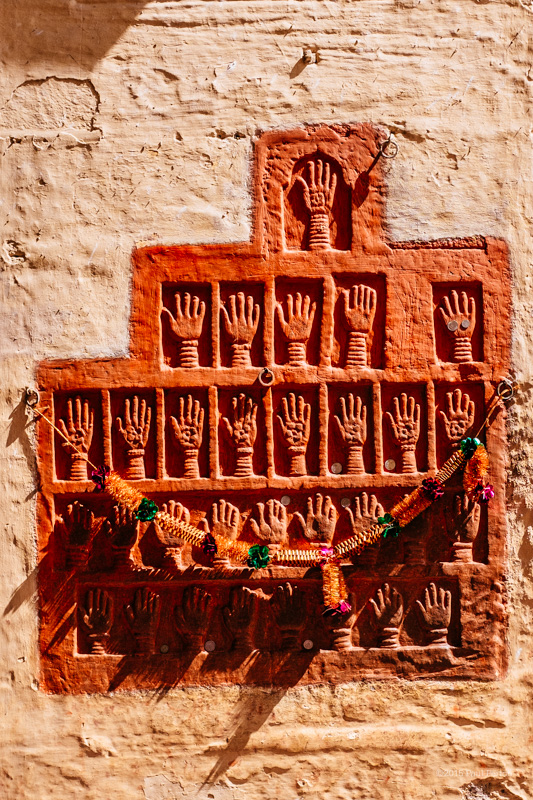 Suti handprints, Mehrangarh Fort, Jodhpur