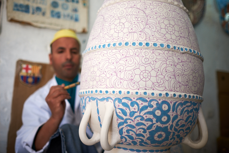 Hand-painting pottery, Fez, Morocco 2. Fujifilm 23mm f:4 1:60s
