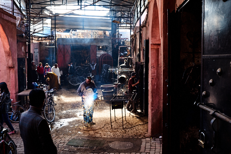 Metalkworkers souk, Marrakech Medina. Fujifilm 23mm f:4 1:60s.