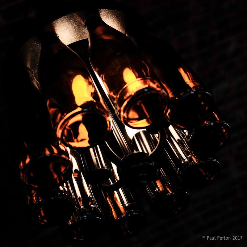 Wine bottle lighting, Franshhoek