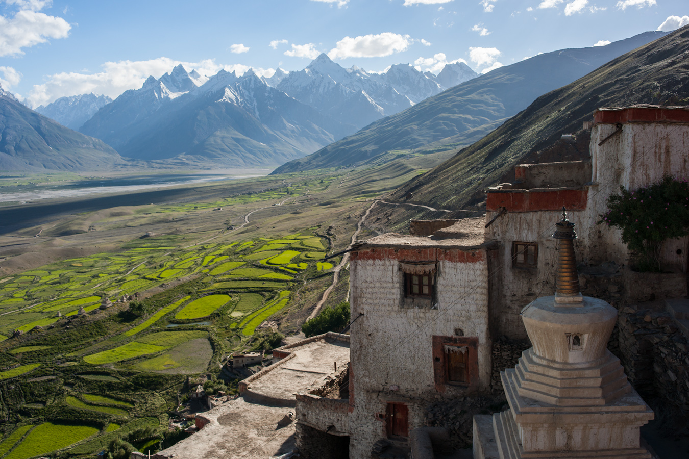 Padum — the capital of Zanskar — in the central valley, viewed from Karsha Gompa.