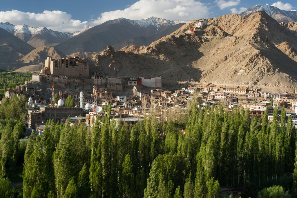 Old Leh: Leh Fort and Tsemo Gompa (top), huge Leh Palace and associated temples look over the Old Town.