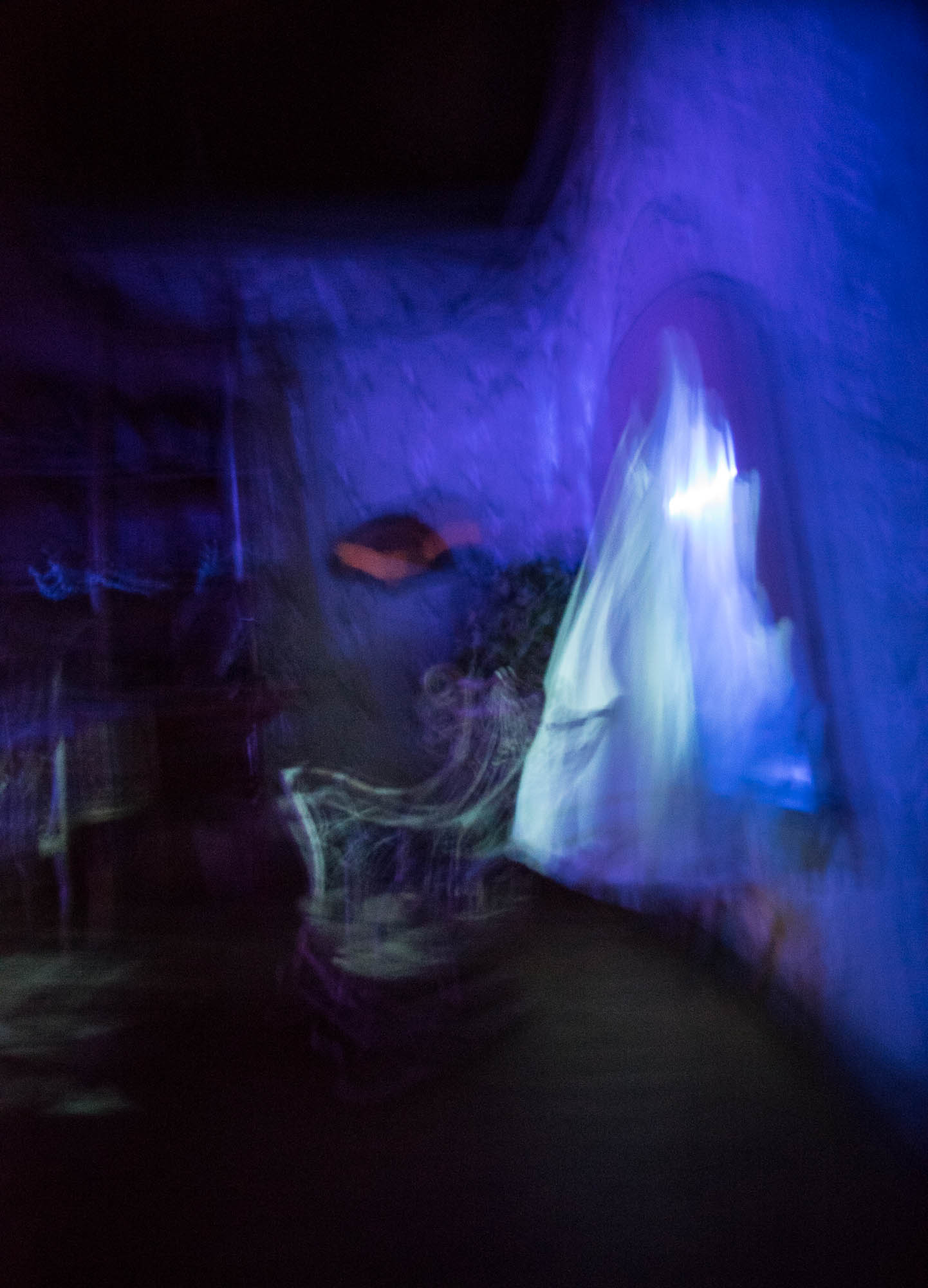 A long exposure of a ghostly figure in Disney Paris
