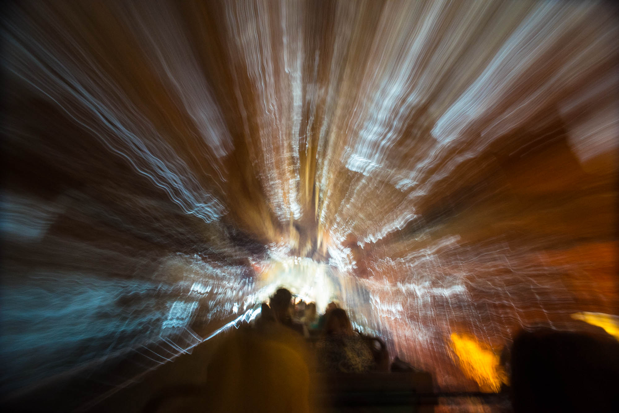 A long exposure photograph in a mine train attraction at Disney Paris