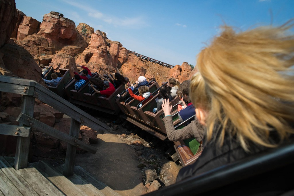 A short exposure freezes movement on  the mine train attraction in Disney Paris
