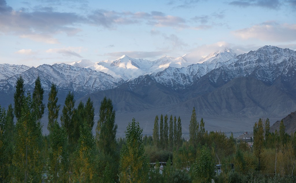 Stok Range 15 kilometres over the valley from Leh: late season at dusk
