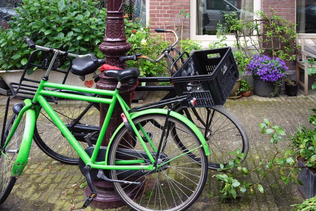 Bikes and flowers in a Jordaan street in Amsterdam