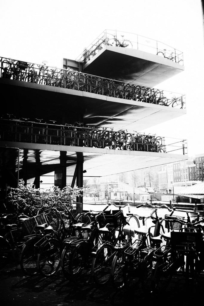 Bike storage (up to 25000 over hundres of meters and 4 levels) near centraal statio in Amsterdam