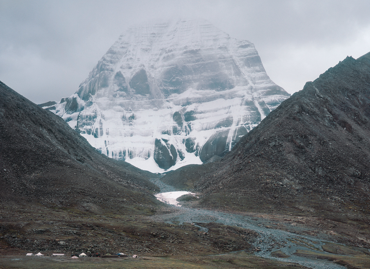 An afternoon snowstorm partialy obscures the holy mountain, as seen from Drira Puk Gompa. Fuji GW690, Fuji Pro 160NS