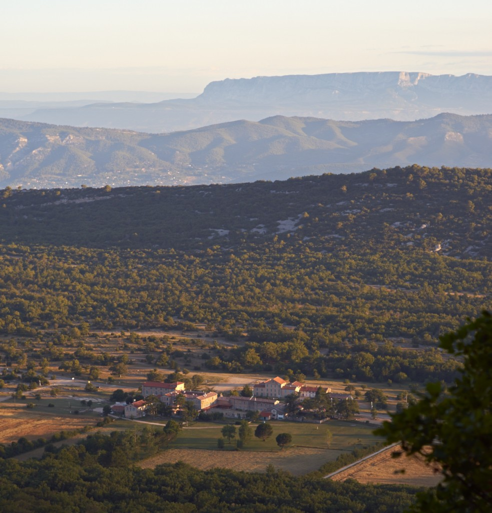A view from the Sainte Baume hermitage towards the Sainte Victoire mountain at sunrise. Provence, France