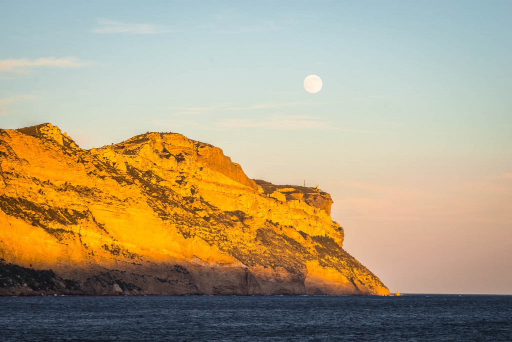 A photograph of Cap Canaille minutes before sunset