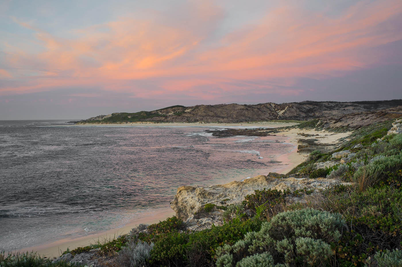 A view of the beach near Margaret River, Western Australia, at sunset