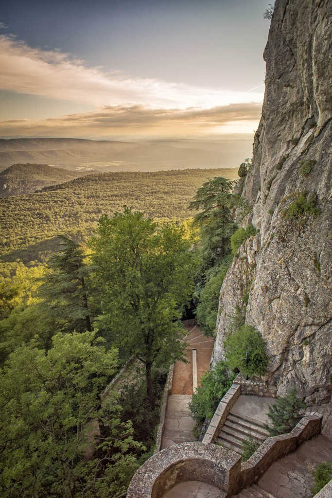 The clifss of Sainte Baume massif overlooking the plains of Nans les Pins and Plan d'Aups, in Provence