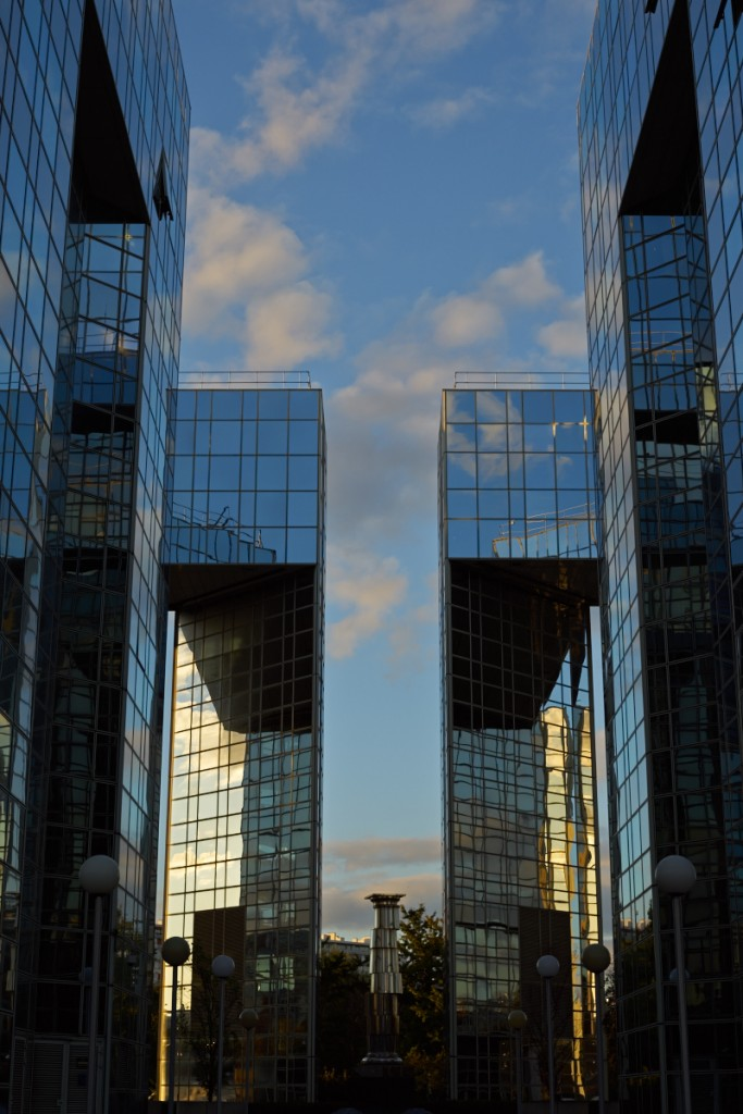 Symetrical perspective of glass buildings in Paris