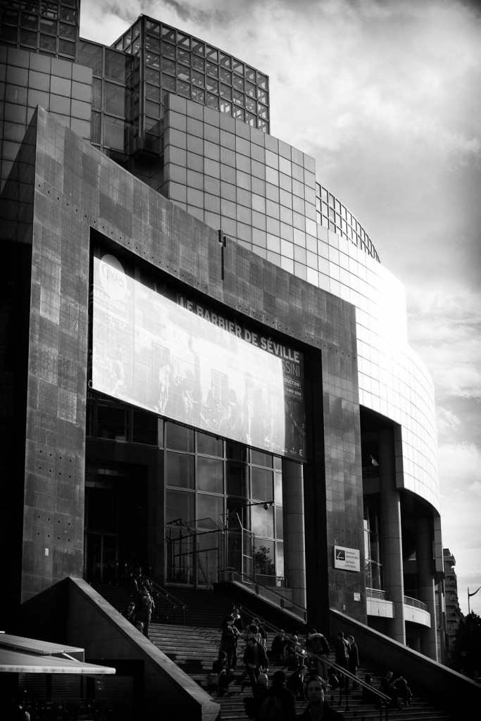 The Opera Bastille in Paris, France. B&W in contrasty light