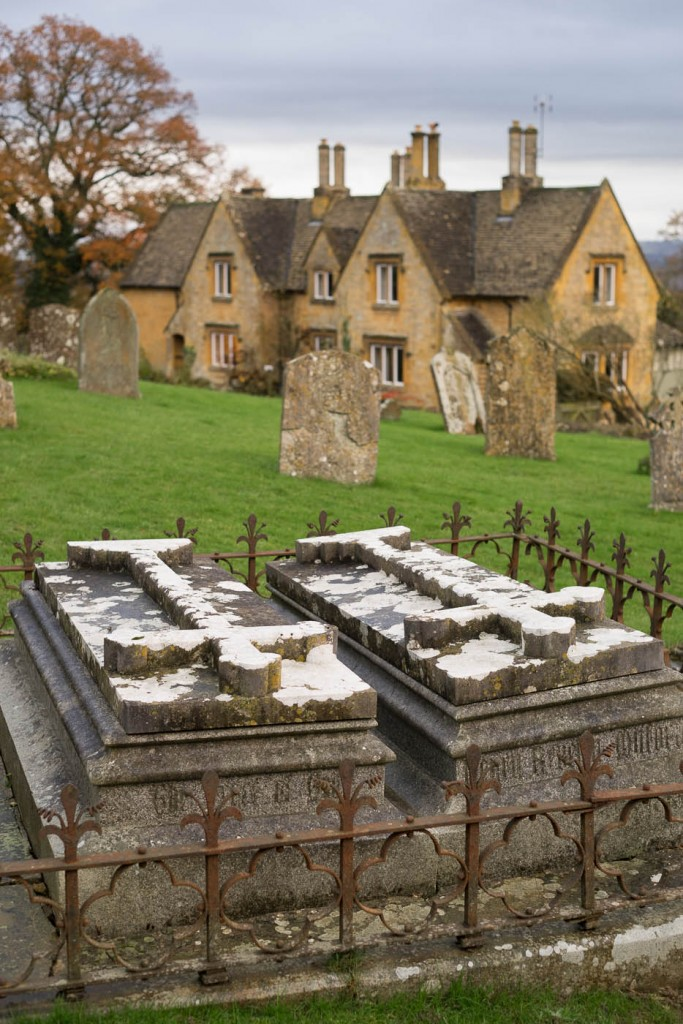 Tombs in the cemetary at batsford arboretum's St Marychurch
