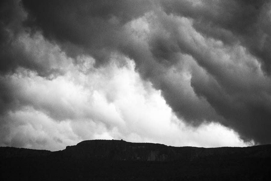 Menacing clouds over a cliff in Provence