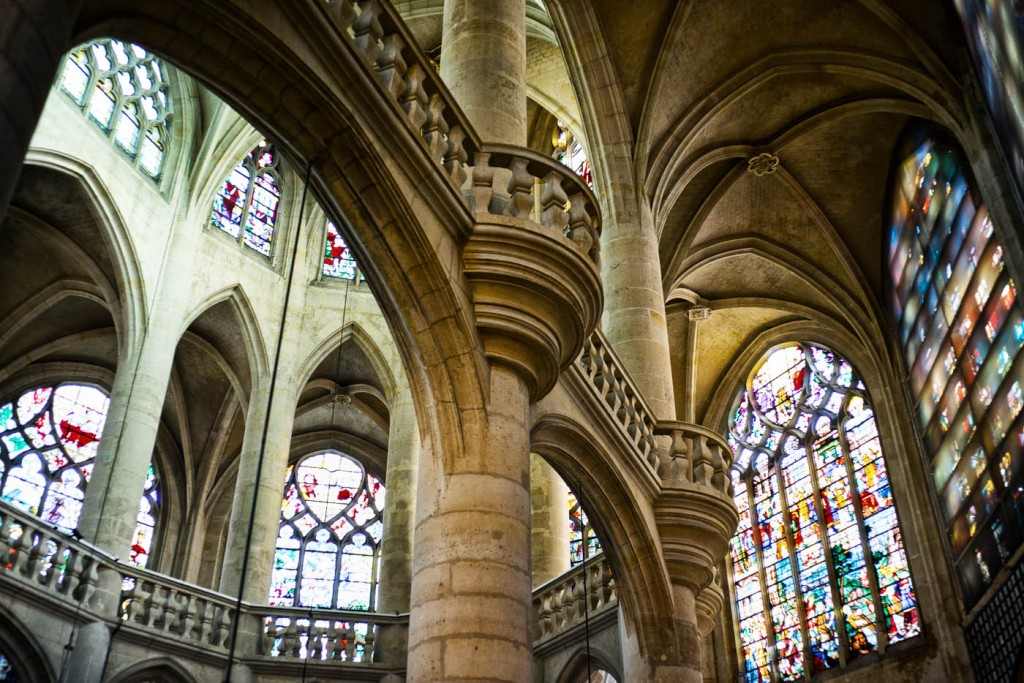 The stained glass inside Saint-Etienne du Mont church in Paris. Sony A7r and Zeiss ZM 35/1.4