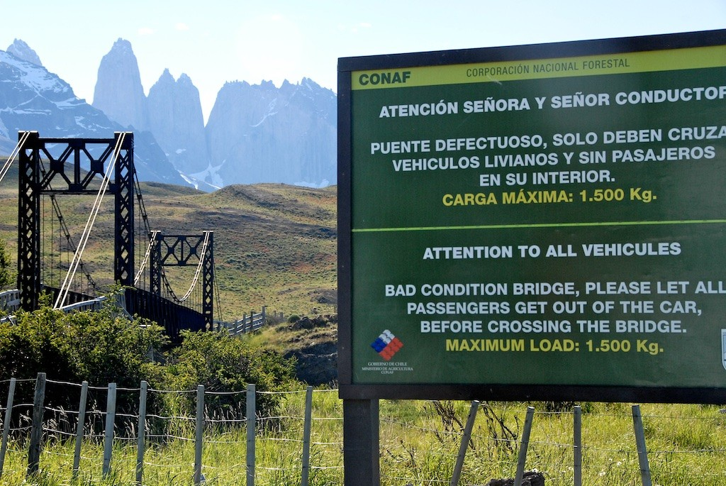 A dangerous bridge in Torres de Paine national park