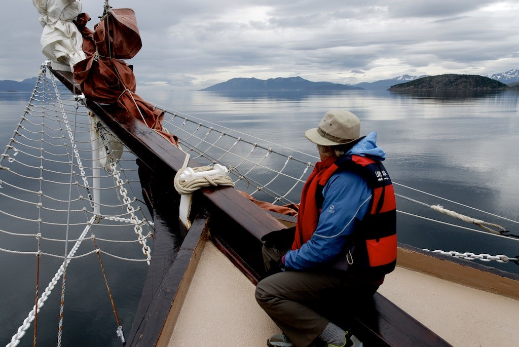 Sailing the Beagle Channel in Tierra del Fuego, near Cape Horn