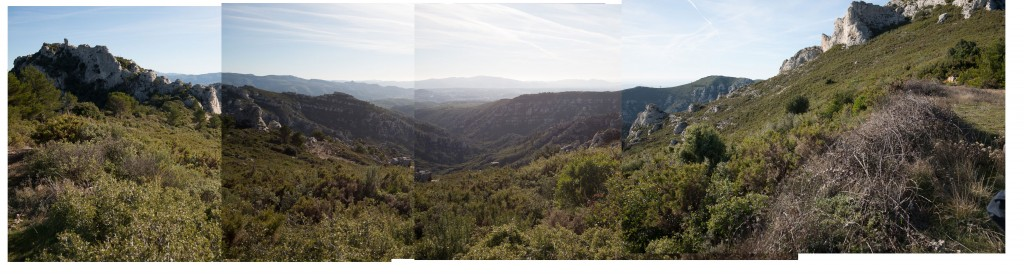 Original frames of a multi-image panorama of the hills of Provence