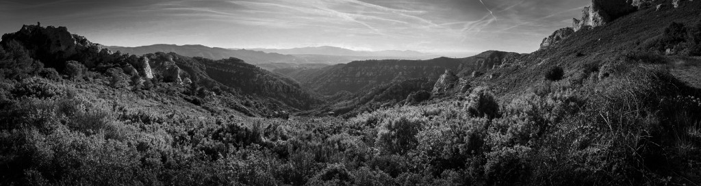 A panoramic monochrome photographs of the hills of Provence