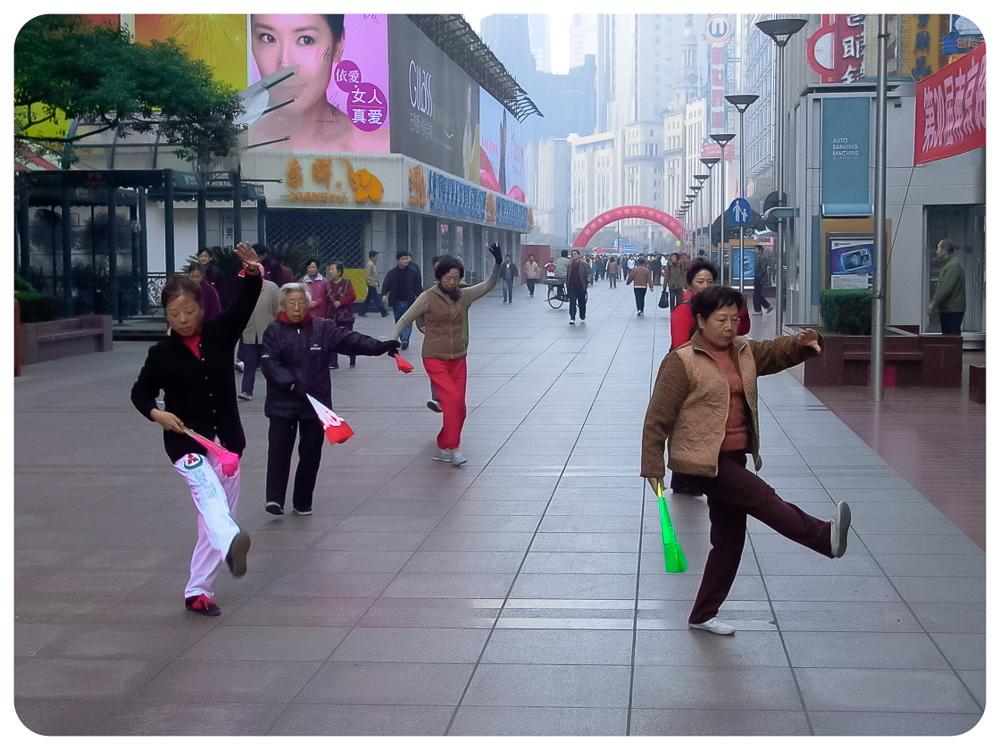 Morning exercise group Nanjing Road