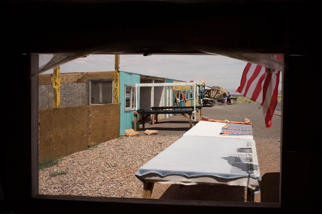 Navajo Market selling jewelery near the Grand Canyon, in Arizona. Frames within frames.