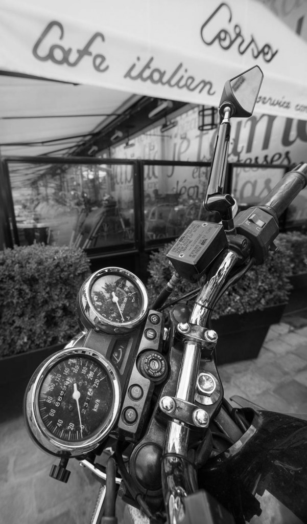 Sony A7rII b&w photograph of a motorbike in Paris