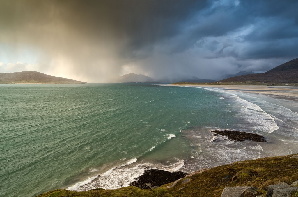 25 - South Harris - Wild Day on the Sound of Taransay, the Island of Taransay and the Mountains of North Harris from Traigh Sheileboist, South Harris