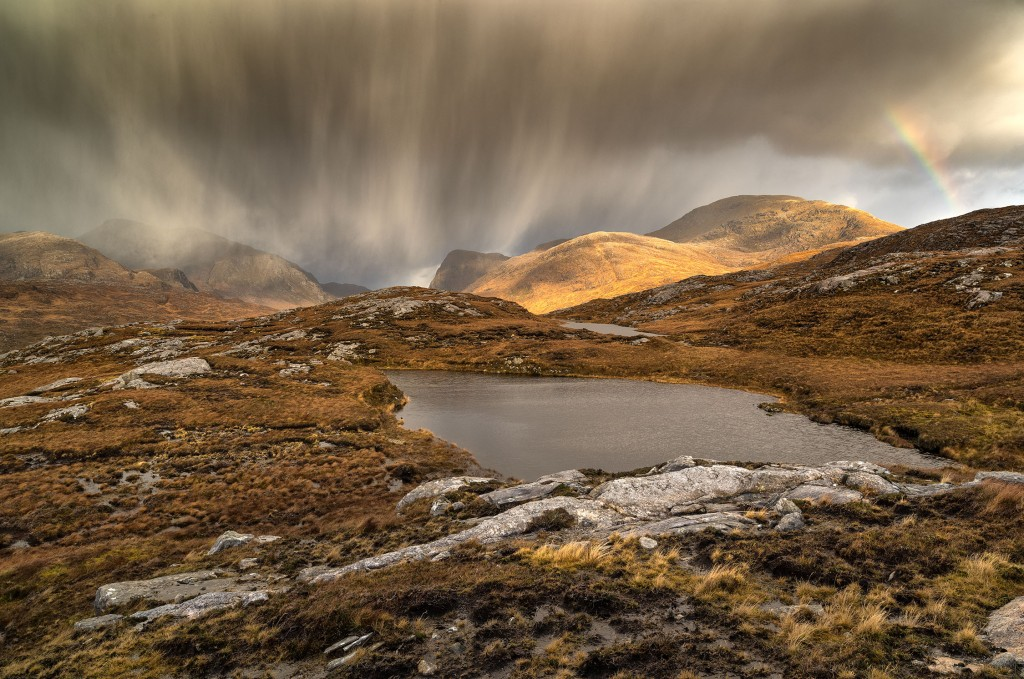 31 - North Harris - Rainbow and Snow Storm sweeping over the Mountains of Ulabhal, Cathadail an Ear and Uisgneabhal Mor