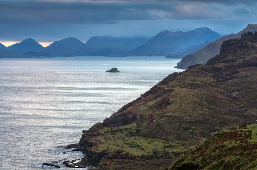 9 - Skye - The Sound of Raasay and the Red Cuillin Mountains from Rigg near The Storr