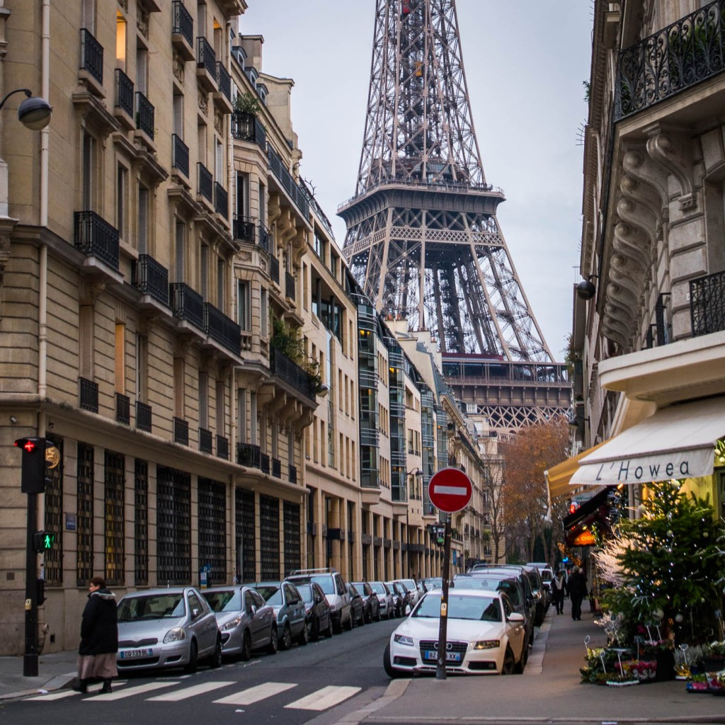 The Eiffel Tower dominating a street in Paris, DearSusan photography workshop spring 2016