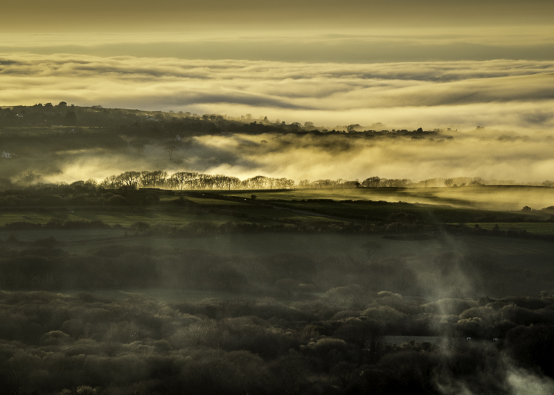 Evening Sea Mist rolls in over Dinas Isalnd., Pembrokeshire