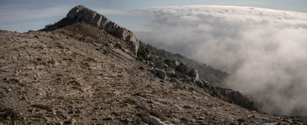 A sea of clouds cimbs the Sainte Baume in Provence