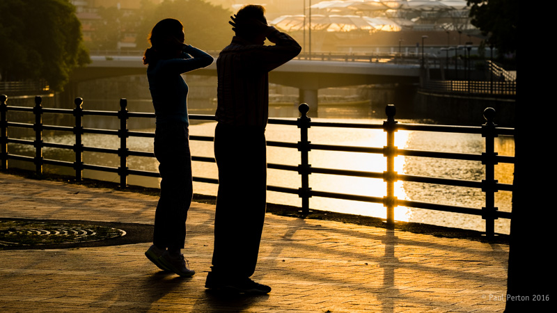 Tai chi, Robertson Quay. X-Pro1 with 90mm f2 @ f5.6, ISO 400. Processed using Thomas Fitzgerald's Velvia plug in.