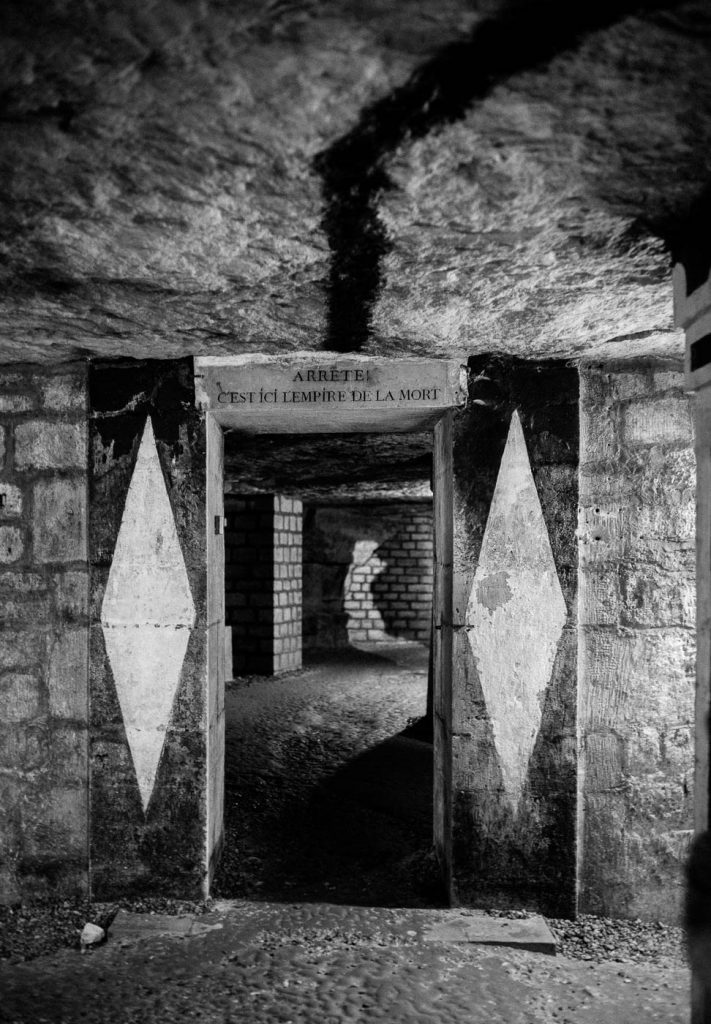 Entry to crypt of Paris catacombs