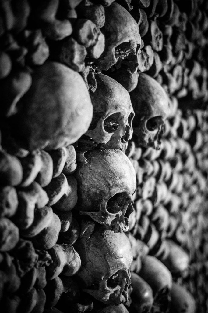 Skulls in a cross in Paris catacombs