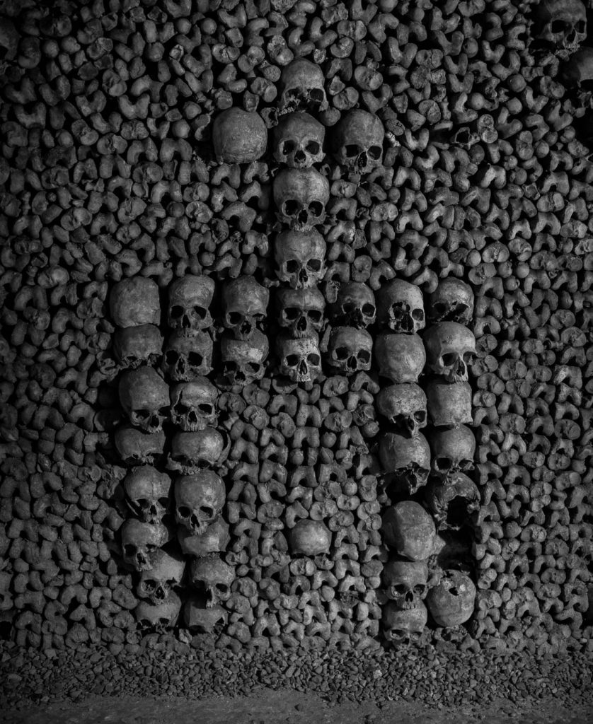Skulls in formation in Paris catacombs