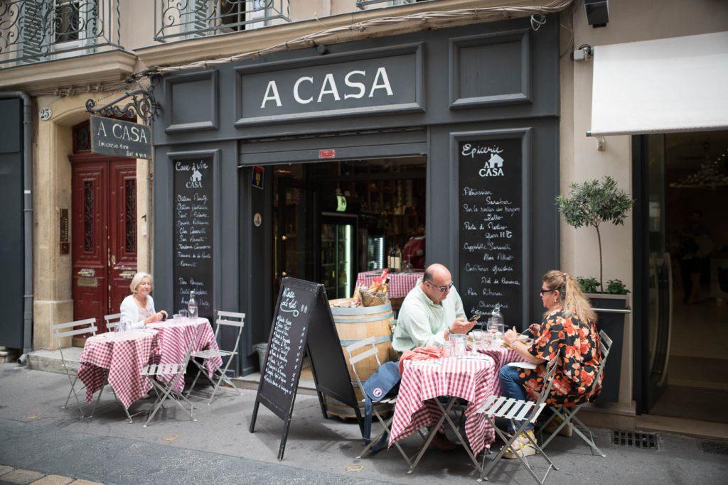 Street restaurant in Aix en Provence, France. Zeiss OTUS 28/1.4
