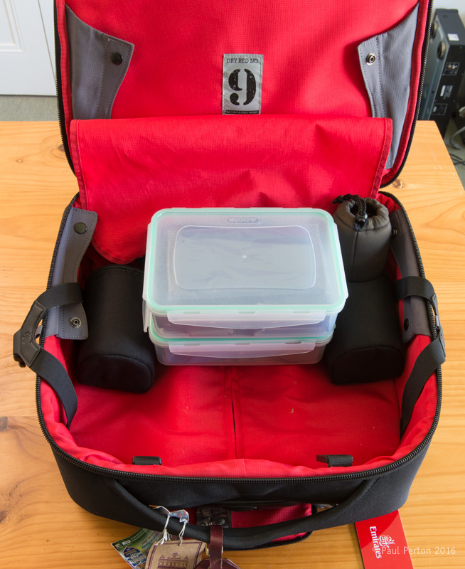 The Crumpler's Dry Red no. 9 maw - still lots of space despite there being three cameras and six lenses in there already