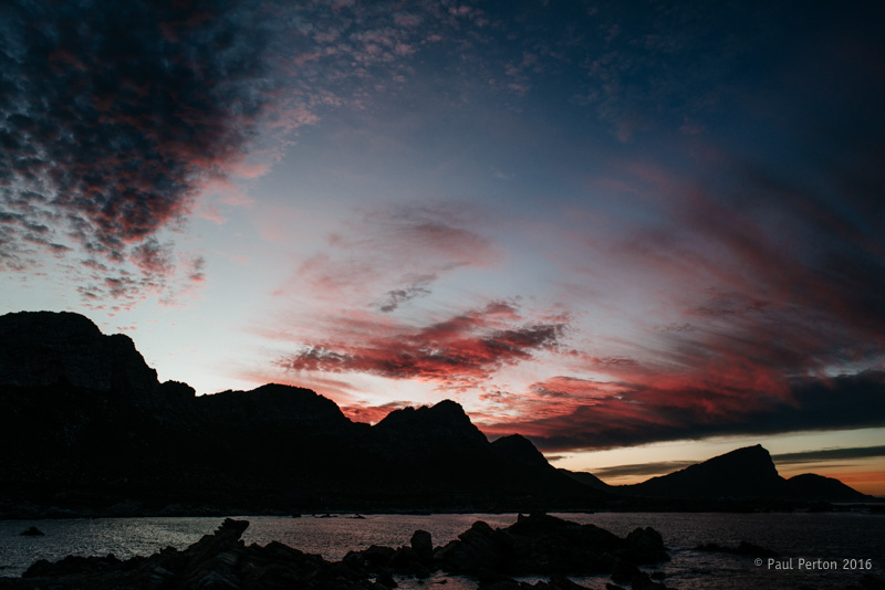 Sunrise over the southern end of the Kogelberg - Nikon D800, Nikkor 28mm f2.8