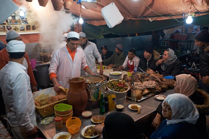 Food stall, Djemaa el-Fna, Marrakech, Morocco. Fujifilm 18-55m f3.6 1:140s