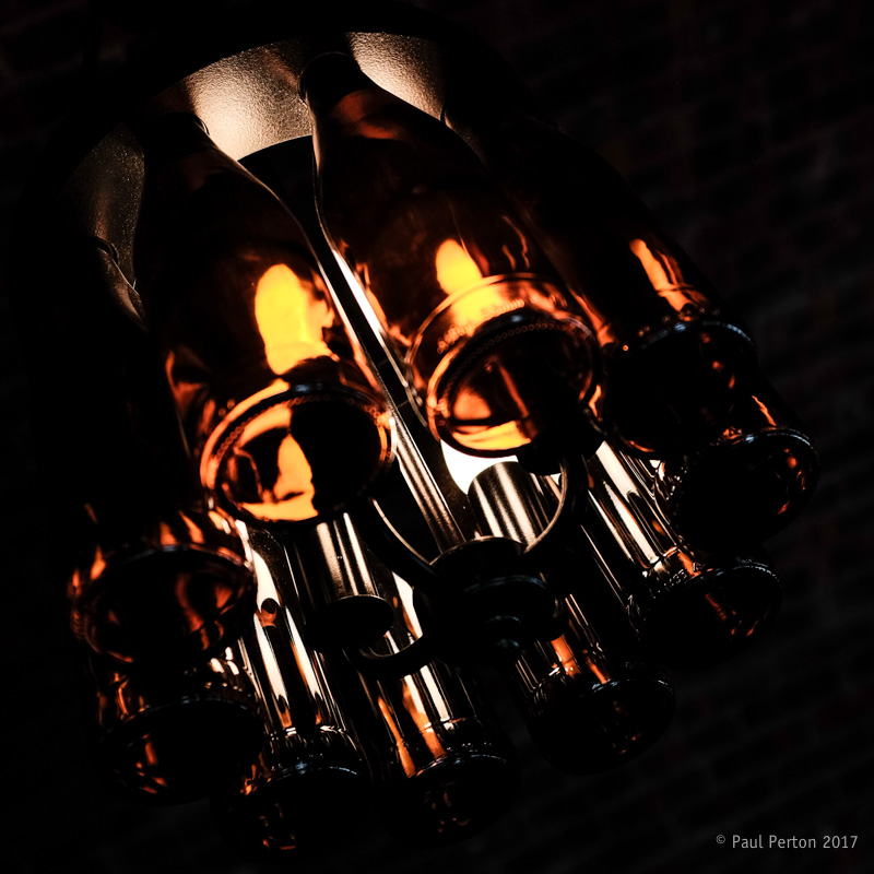 Wine bottle lighting, Franshhoek