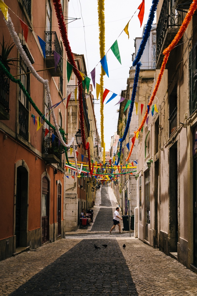 Old town Lisbon, Portugal, with colorful pennants and garlands