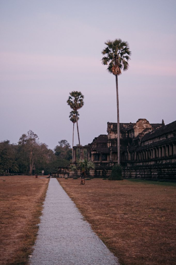Angkor Wat at sunset with lovely colors