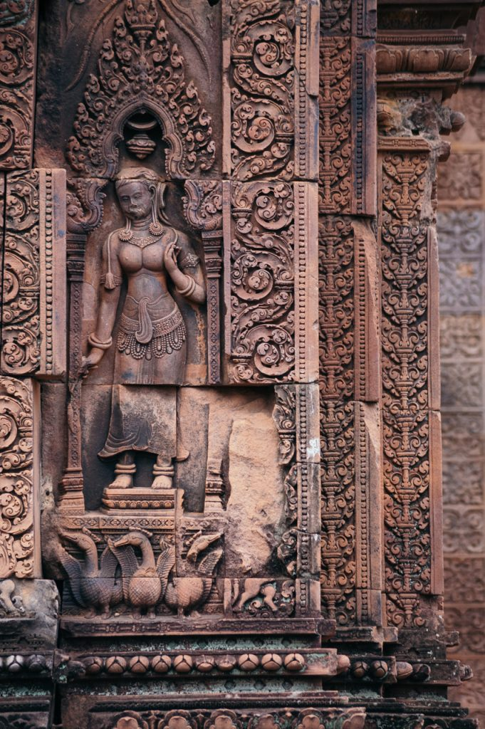 Devi inside a shrine at Banteay Srei temple, Angkor