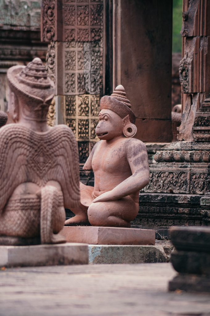Guarding figures at Banteay Srei temple, Angkor